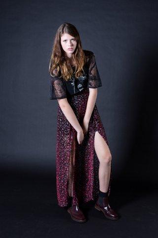 Spotted Silk Velvet Skirt